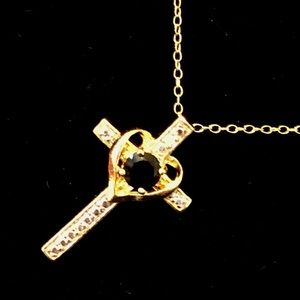 Jewelry - NEW Cross Necklace w/Black Stone & Diamond Accent